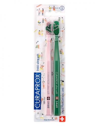 """Набір зубних щіток ultrasoft"""", Love 2020 pink & green d 0,10 мм (2 шт.)"""