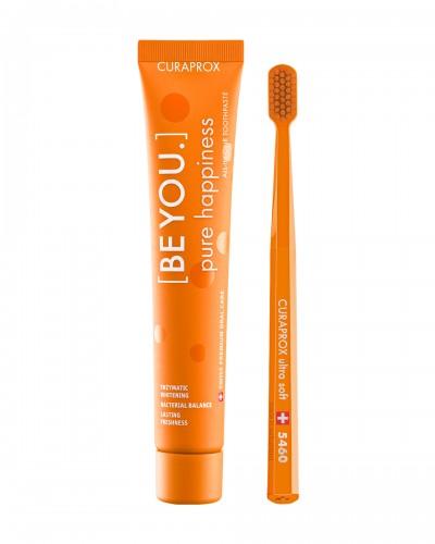 Набір: Відбілююча зубна паста Curaprox 'Be you' PURE HAPPINESS (АБСОЛЮТНЕ ЩАСТЬЕ), 90ml та ультра-м'яка зубна щітка.