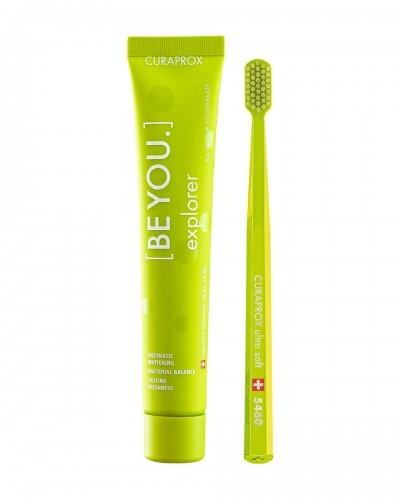 Набір: Відбілююча зубна паста Curaprox 'Be you' EXPLORER (ДОСЛІДНИК), 90ml та ультра-м'яка зубна щітка.