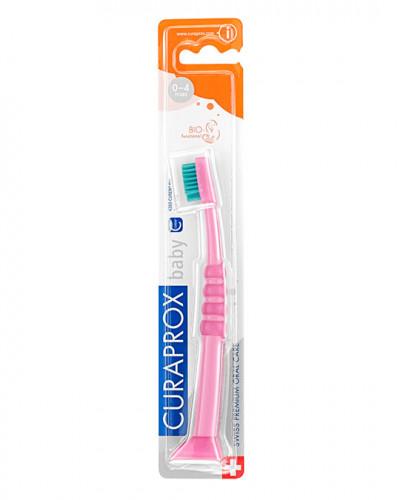 Зубна щітка дитяча CS Baby з гумованою ручкою (0-4 років) (рожевий - зелений)