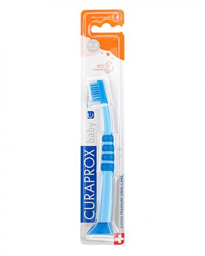 Зубна щітка дитяча CS Baby з гумованою ручкою (0-4 років) (синій - синій)