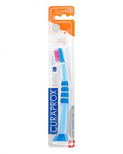 Зубна щітка дитяча CS Baby з гумованою ручкою (0-4 років) (синій - рожевий)