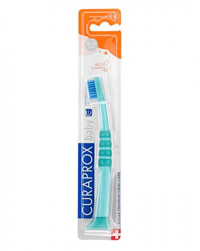 Зубна щітка дитяча CS Baby з гумованою ручкою (0-4 років) (зелений - синій)